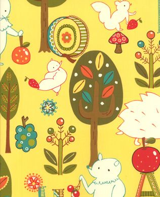 3271017 Forest Critter Yellow | Moda Fabric | Keiki | Mind Your P's & Q's
