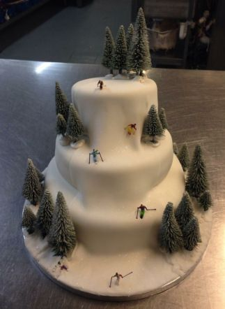 3 Tiered Ski Slope Themed Cake