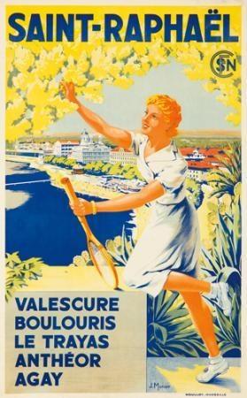 Saint-Raphael , French Riviera ,1925  Vintage travel poster by J. MUNIER #beach #essenzadiriviera www.varaldocosmetica.it/en