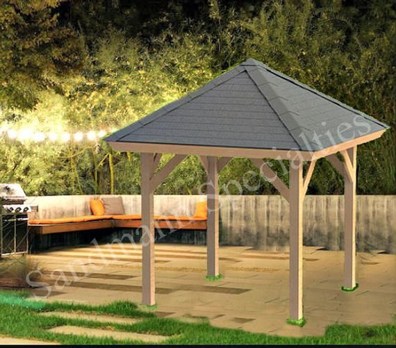 Hip Roof Gazebo Building Plans 8 X8 Perfect For Spas Etsy In 2020 Gazebo Plans Gazebo Hip Roof