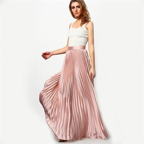Elastic Waist Pleated Beach Maxi Skirt