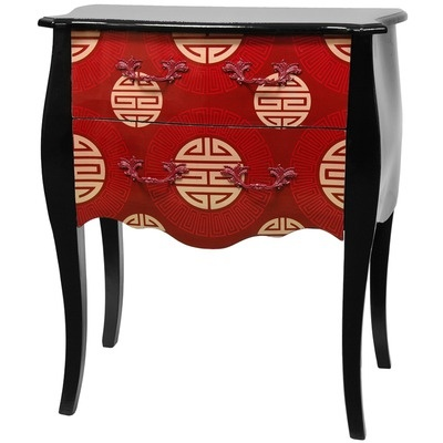 Oriental Furniture Shou 2 Drawer Cabinet in Black Lacquer
