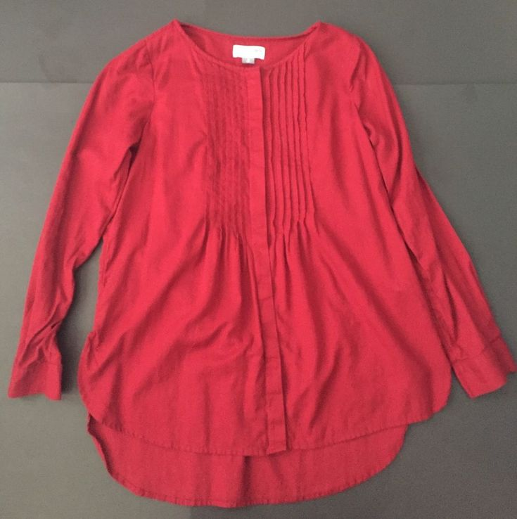 Old Navy Deep Red Tunic Shirt M Sheer Pleated Chest Lightweight Casual Top   | eBay