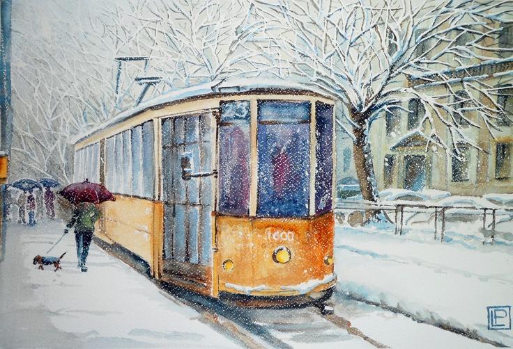 """""""tram in viale Molise -Milano"""" acquerello 35x51 di Lorenza Pasquali  n.d."""