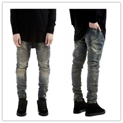 Высокая мода мужская байкер джинсы мотоцикл раза плиссированные эластичный мужские узкие джинсы тонкий мужской рваные джинсы отверстие носить байкер джинсы мужчин
