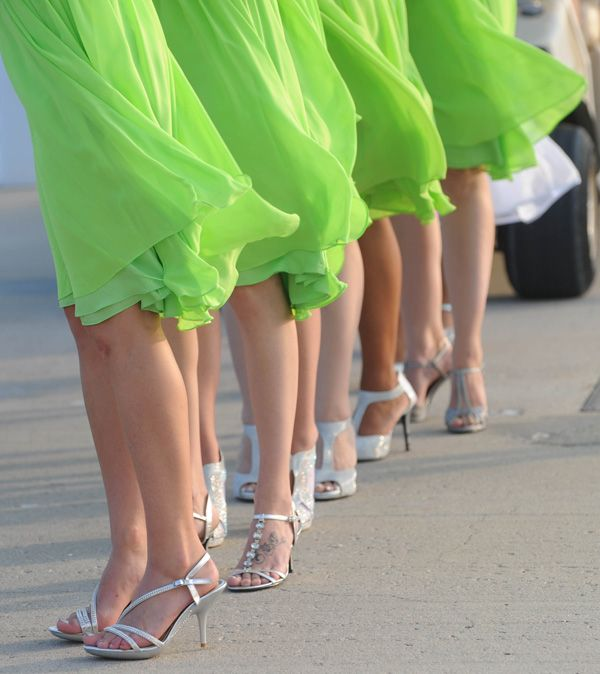 Love these bright green bridesmaid dresses! | Real MD Wedding: Waterfront Fairy Tale Wedding in Lime Green | Southern Maryland Weddings | Photos by The Pros #somdweddings #fairytalewedding #greenwedding