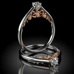 Inel de logodna cu diamante Madalin din aur alb cu roz