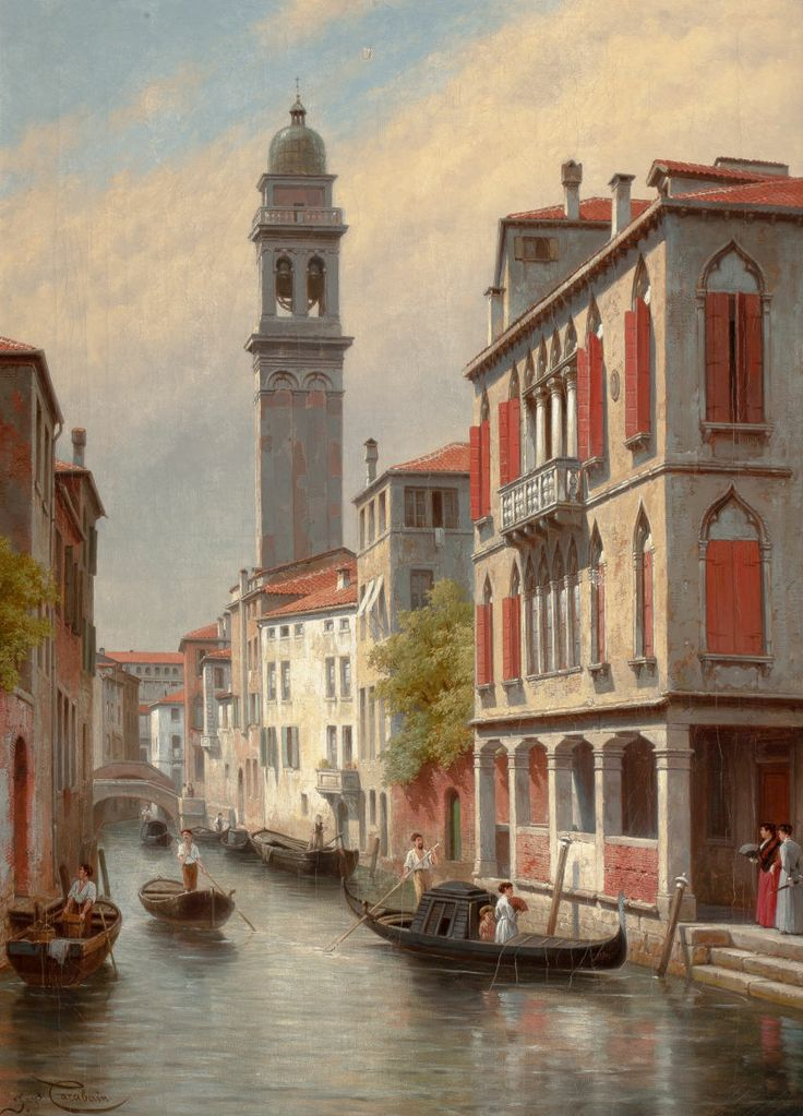 JACQUES FRANÇOIS CARABAIN (Belgian, 1834-1920). Une Vue a Venise, San Giorgio dei Greci, Italie, 1900