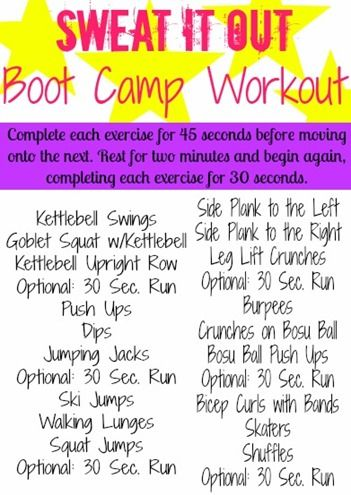 Sweat It Out BOOT CAMP WORKOUT- details about exercises on website