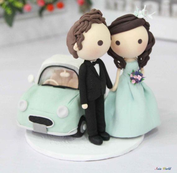 Wedding Cake topper, Clay Couple in Tiffany wedding and Nissan Figaro clay miniature, clay ring holder, wedding clay doll, clay figurine on Etsy, $129.50