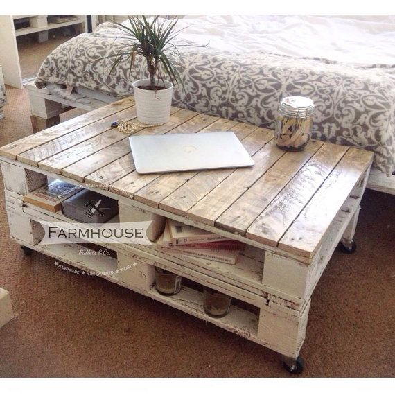 Farmhouse Industrial Reclaimed Pallet Coffee Table - Shabby Chic Upcycled Wheels Solid Wood, console table