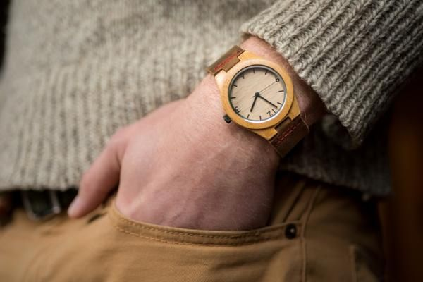 Tree Hut Wood Watch | This wooden Tree Hut watch has genuine brown leather bands and is handmade in San Francisco from real wood with available engraving.