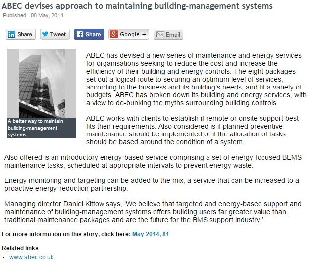 ABEC devises approach to maintaining building management systems