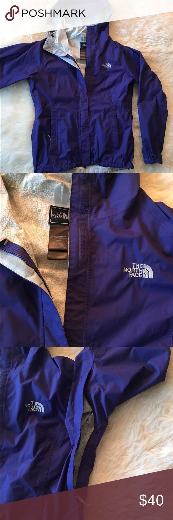 North Face Rain Jacket HyVent 2.5L Beautiful Purple/Blue rain jacket from The North Face. Cute inside pattern. Works great. No damage. Zipper vents. North Face Jackets & Coats Utility Jackets
