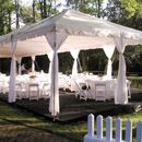 20'x40' fiesta frame tent with liner and leg drapes