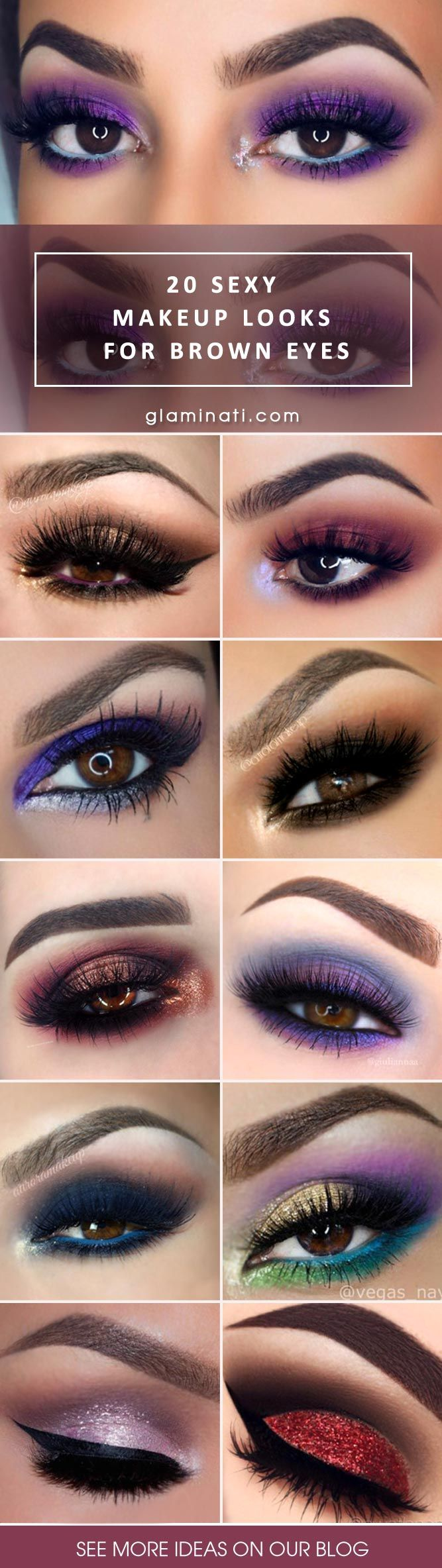 Brown eyes are so gorgeous, and the best thing about them is that you can rock any style of makeup. Check out the top twenty eye makeup looks!