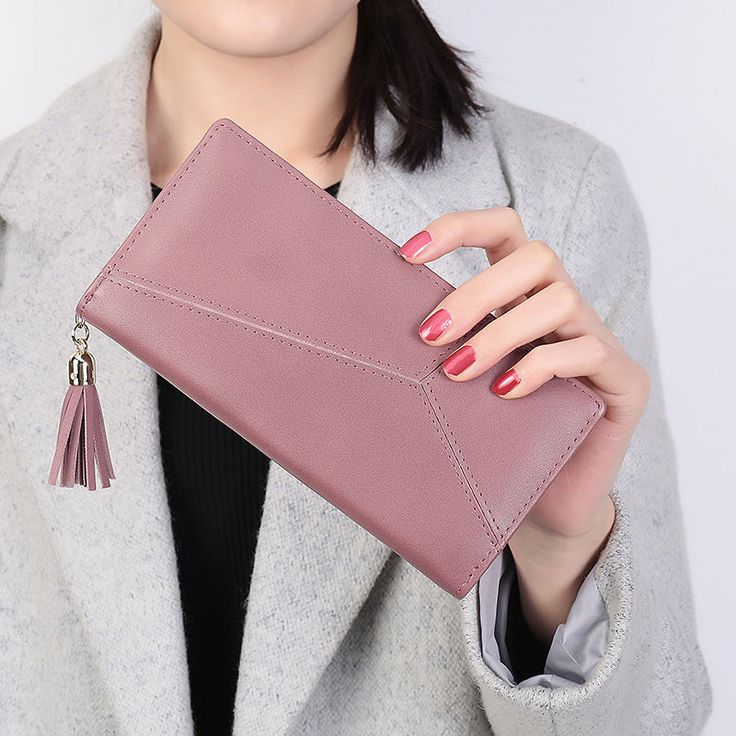 Women Leather Long Female Wallet Stitching Zipper Button Bifold Button Purse #Unbranded #IDWallet