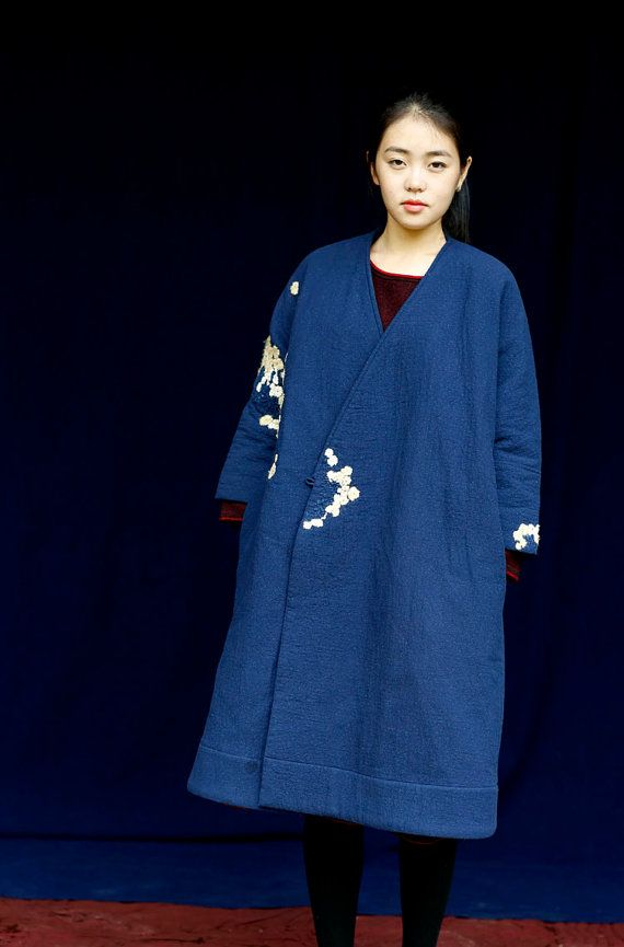 Embroidered long linen coats jackets  BonLife by BonLife on Etsy