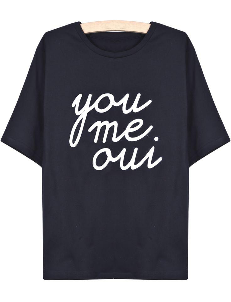 Black Short Sleeve you me oui Print T-Shirt - Sheinside.com