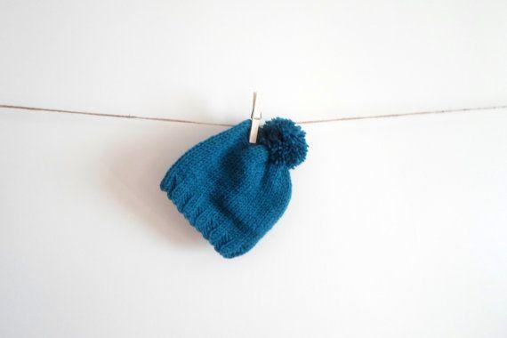 Pom pom Beanie / Baby pom pom hat. Hand knit by HandmadeByAtlas