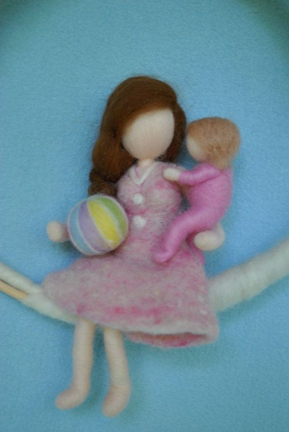 Room Decor Waldorf Inspired Mobile: Mother and Child by MagicWool