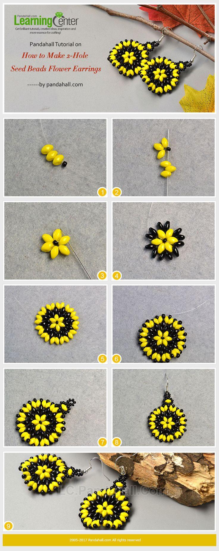 Pandahall Tutorial on How to Make 2-Hole Seed Beads Flower Earrings