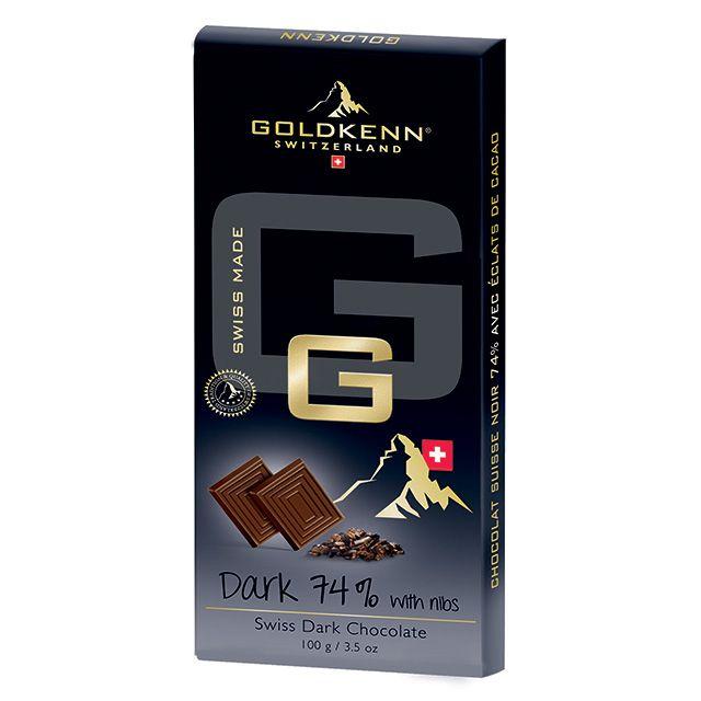 Goldkenn Gama G, Ciocolata neagra 74%, cu bucati caramelizate de cacao