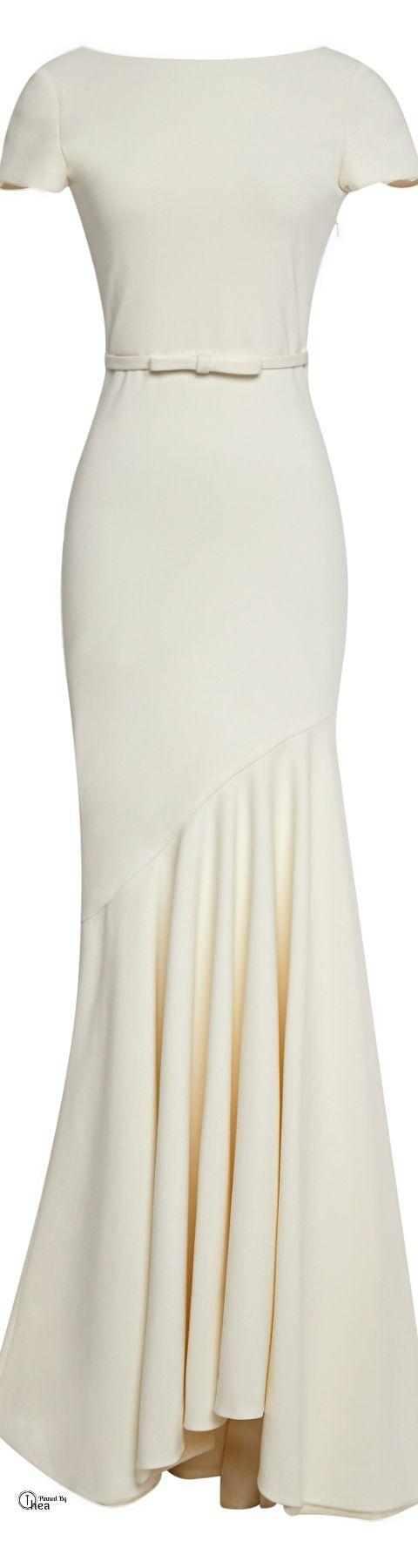 Katie Ermilio ● FW 2014, Ivory Cream Short Sleeve Scoop-Back Gown
