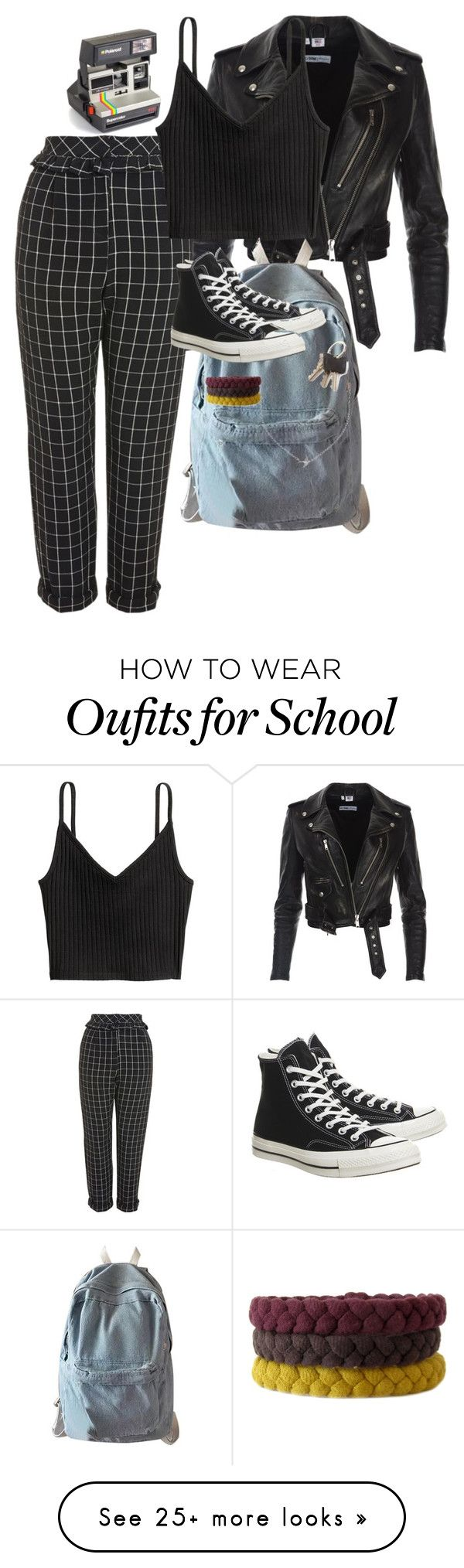"""Untitled #1049"" by royalcouncil on Polyvore featuring Topshop, H&M, Polaroid, WithChic, Converse and Minnie Grace"