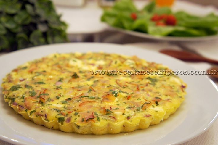 Quiche light de ricota e peito de peru