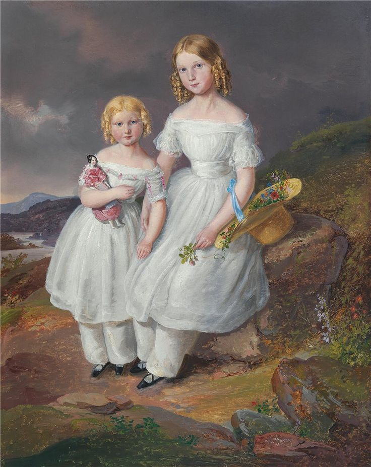 Josef Manes  Portrait of Franziska Countess Kolowrat-Krakowsky and Seraphine Countess Kolowrat Krakowsky