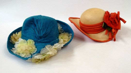 Two Miss Agget of Oxford floral decorated wedding hats.  Estimate £30.00 to £50.00. (Lot no: 180 in sale on 05/08/2014) The Cotswold Auction Company