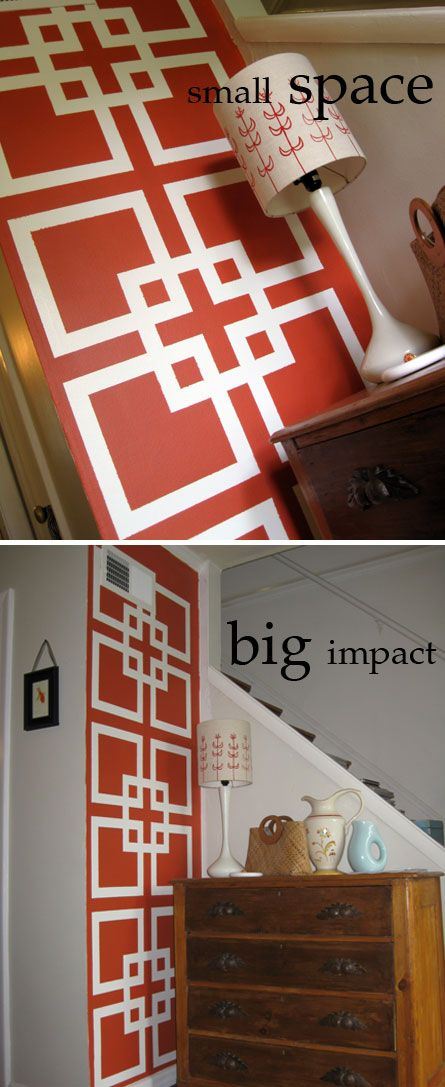 georgeous big statement on a small wall and easily changed out love painting designs - Wall Painted Designs
