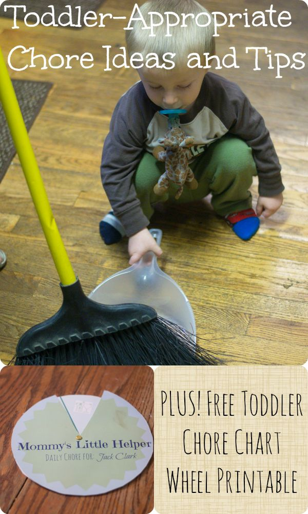 Toddler appropriate chore ideas and tips, plu a free toddler chore chart printable.