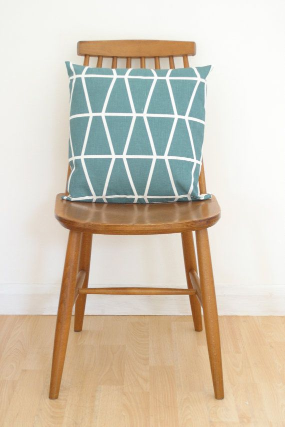 Teal Fasett by Spira geometric cushion cover by LouiseBrainwood, £18.90
