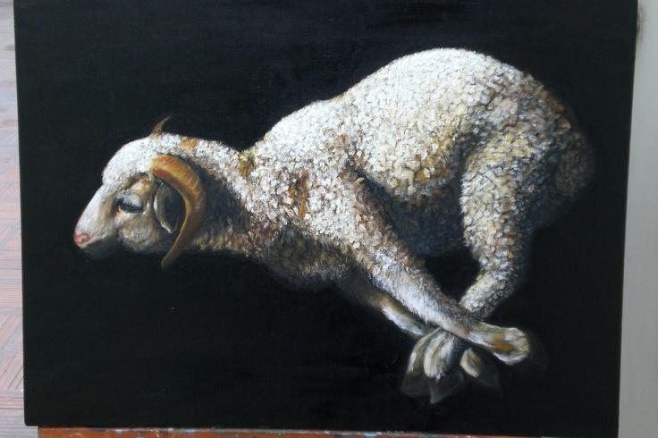 Agnus Dei  Oleo sobre lienzo  2008  mi versión personal del Agnus Dei (Cordero de Dios) de Zurbarán