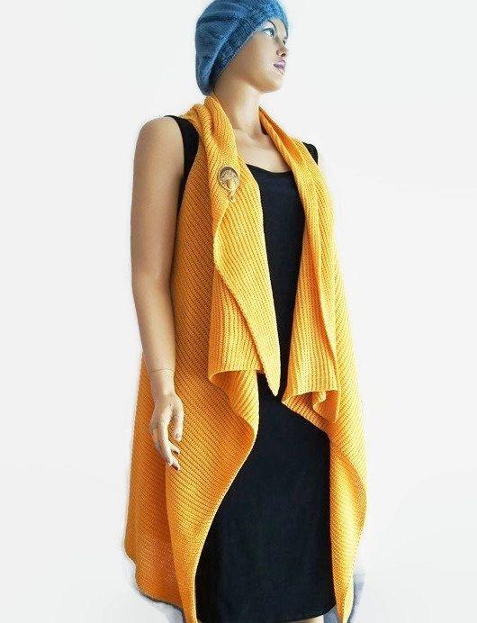 Free ship Mustard Oversized Knit Vest with Brooch, Open Tunic Women Vest Fall Women Winter, Women Vest Spring Fall Lady Knitting Shawl,