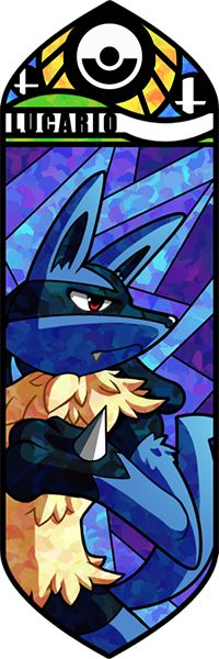 Fan art Pokémon en vitrail - Lucario