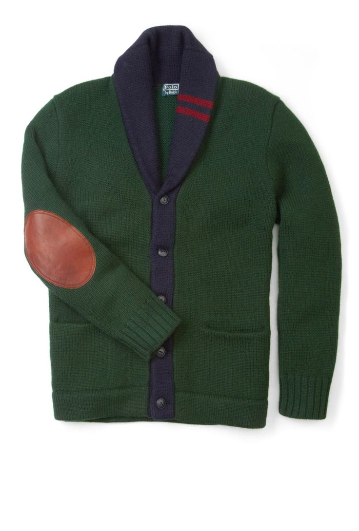 Hunter green + navy blue Polo Ralph Lauren sweater cardigan with leather  elbow arm patch and double red sailor racing strip.