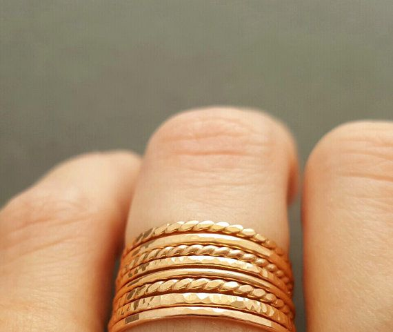 NEW Rose Gold Rings thin stackable rings Choose your by bluebirdss