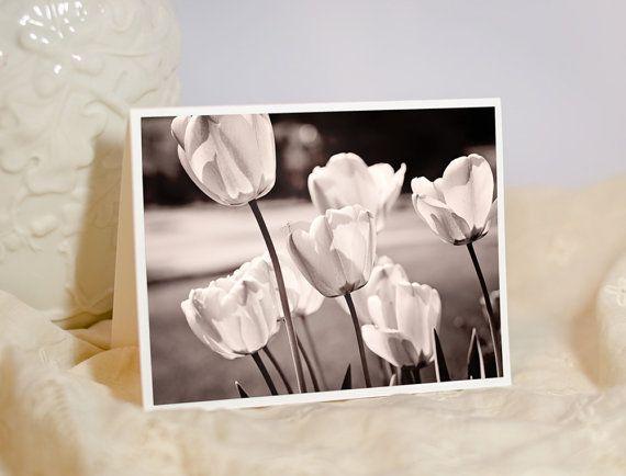 Nature Photo Greeting Card - Tulip Flower Photo Notecard - Sepia Photo - Botanical Art - Gender Neutral Note Card - Blank or Custom Card