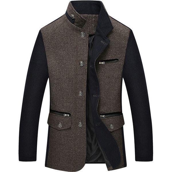 Wool Zipper Pocket Jacket Coat (935 MXN) ❤ liked on Polyvore featuring men's fashion, men's clothing, men's outerwear, men's coats, mens grey coat, mens khaki coat, mens grey wool coat, mens gray wool coat and mens gray pea coat