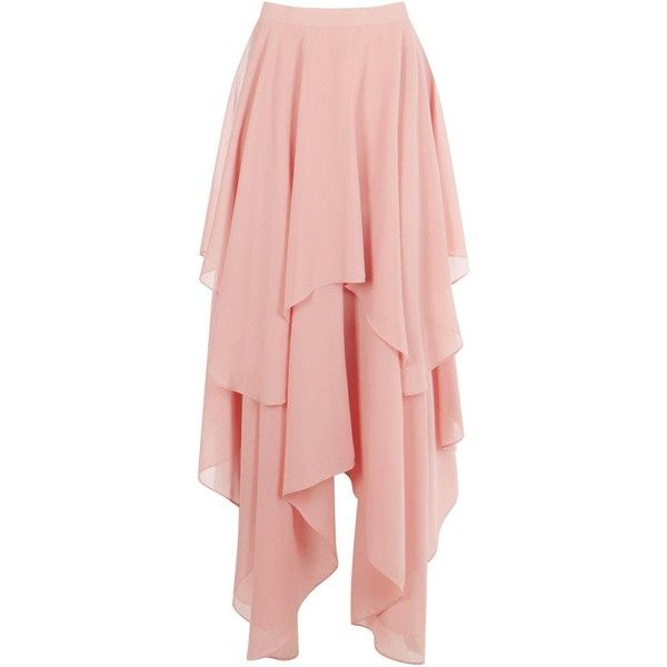 Indie Ruffle Hem High Low Chiffon Maxi Skirt (€25) ❤ liked on Polyvore featuring skirts, pink, short front long back skirt, hi low maxi skirt, long chiffon skirt, long high low skirt and pink skirt