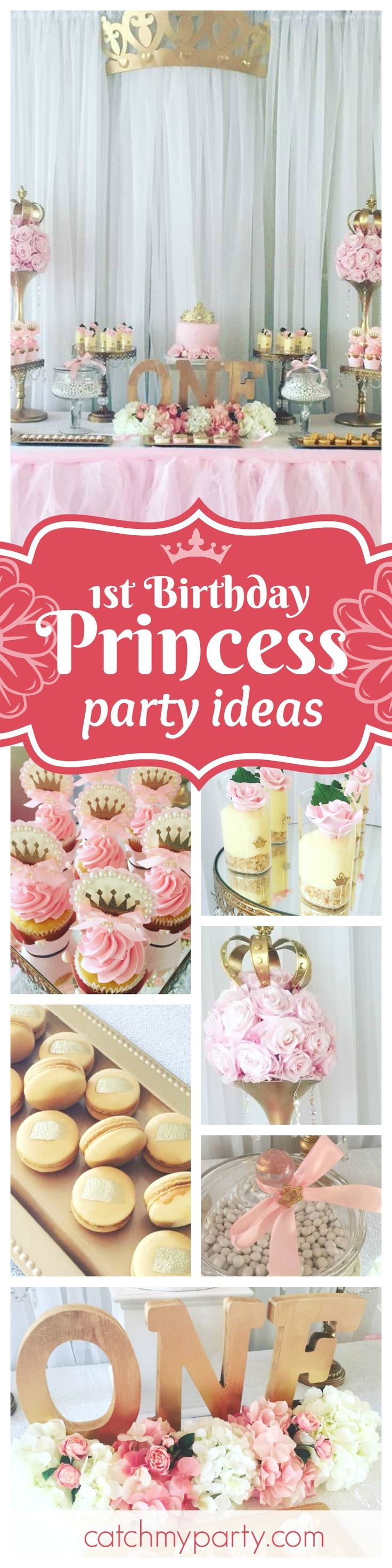 You too with feel like a princess at this gorgeous Princess 1st birthday. The dessert table is beautiful!! See more party ideas and share yours at CatchMyParty.com