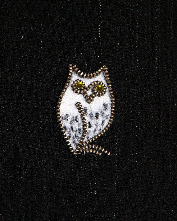 White owl original designer zipper and felt handmade brooch with Swarovski rhinestones.