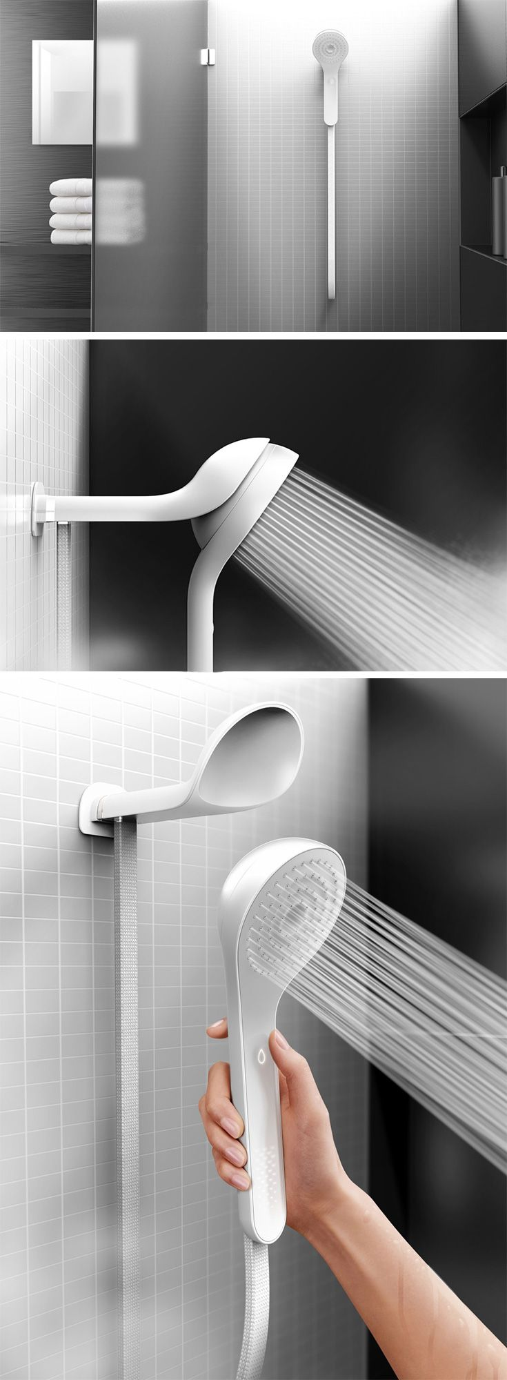 The 'Well' by Matter and Mindtribe aimed to set up a system monitoring water-usage in one's home and have stats sent to the homeowner's phone. However, what we are captivated by is the resultant shower-head design that contained a smart-fixture, helping curb water usage through clever use of color-changing LEDs on its handle. The showerhead actually combines itself with the hand-shower, becoming a hybrid in itself.