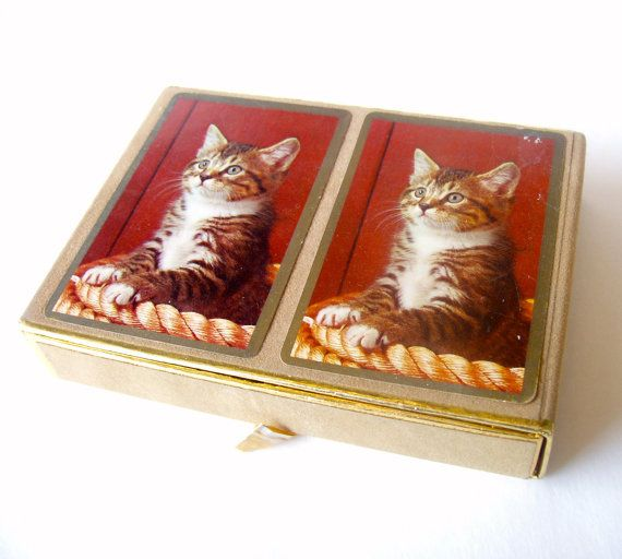 VINTAGE Kitty Cat Playing Cards . Double by RareRagsandTreasures