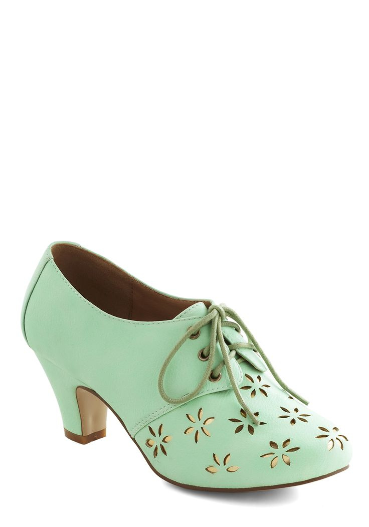 Solar Powerful Heel in Mint. This item was picked by you in our Be the Buyer Program and will be sold exclusively online at ModCloth! #mint #modcloth