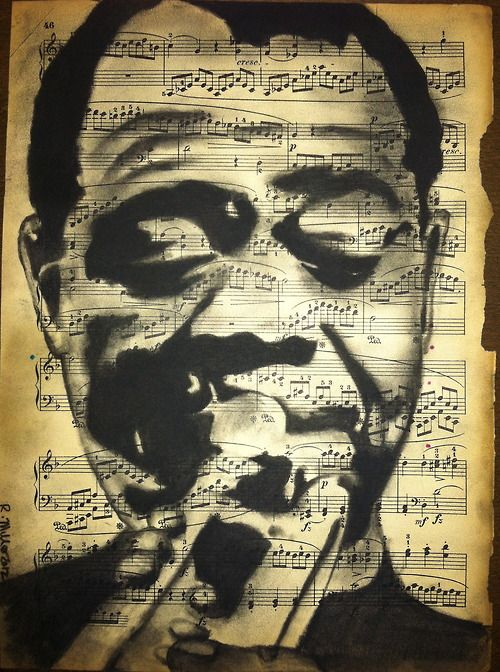 "rebeccamillerart:    Louis ""Satchmo"" Armstrong  Charcoal on 1905 sheet muisc  By Rebecca Miller"