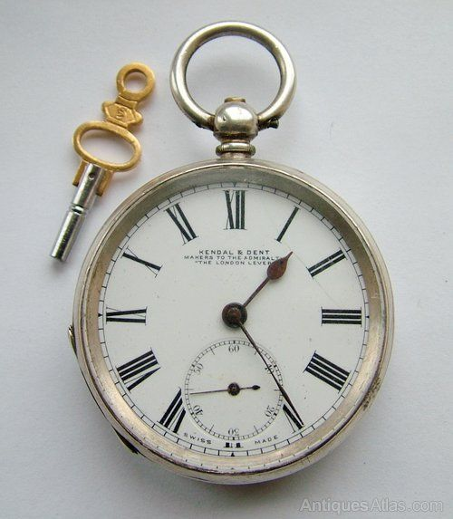 Antique Kendal & Dent silver pocket watch, 1887